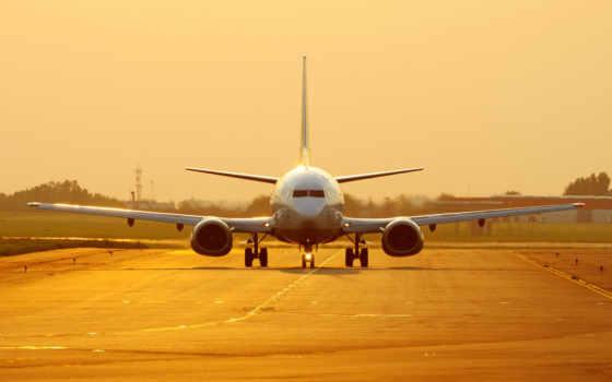 самолёт, закате, boeing
