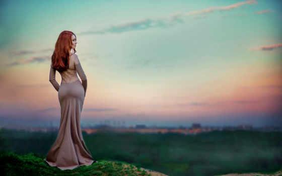 женщина, гуляет, настроение, девушка, park, платье, красивая,