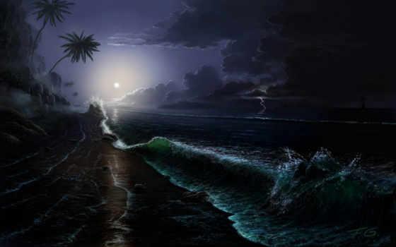 луна, море, ночь, корабль, остров, art, waves, oblaka, fel, небо, пальмы,