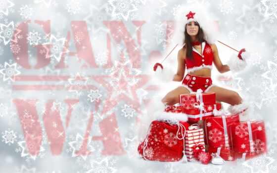 девушка, новое, год, красивый, трубка, môre, new, палуба, страница, елка, дар