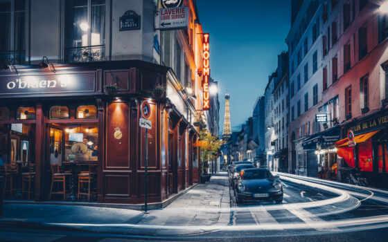 париж, calles, санкт, rue, torre, noche, eiffel, доминик, pantalla, франция