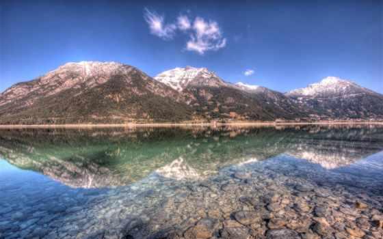 озеро, crystal, mountains