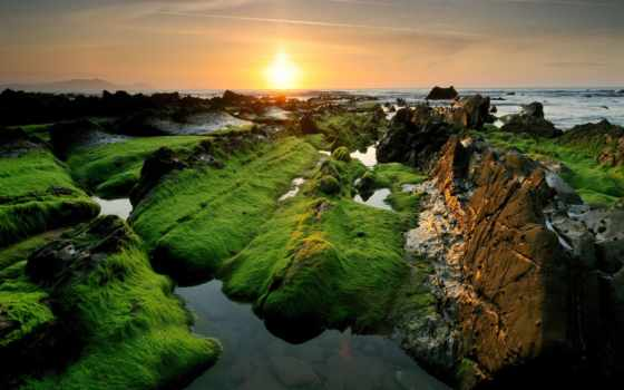 мох, закат, трава, гладь, water, отдых, природа, tourism, скалы, browse,