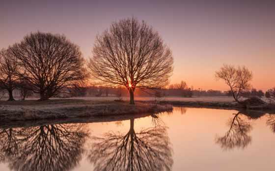 fondos, pantalla, rboles, paisaje, amanecer, del, закат, descargar, naturaleza, reflexión,