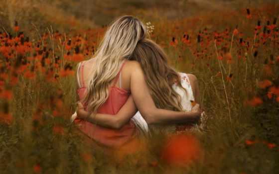 devushki, поле, две, сидят, обнявшись, девушка,