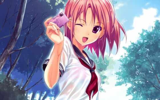 anime, девушка, прогулка