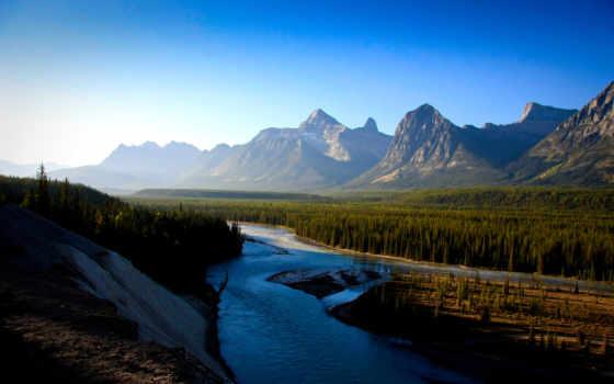 гора, небо, река, landscape, природа, планшетный
