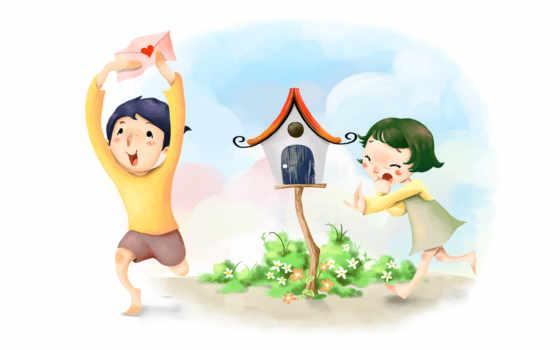 нарисованные, дети, девочка, мальчик, письмо, конверт, сердце, бег, стыд, радость, ящик для писем, цветы, босиком