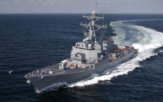 море, hawk, борту, американского, эсминца, два, мужчина, crew, составляет, корабль,