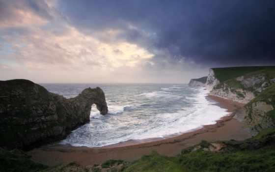море, скалы, пляж, waves, арка, природа, небо, закат,