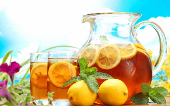 чая, холод, графин, салфетка, стаканы, напиток,