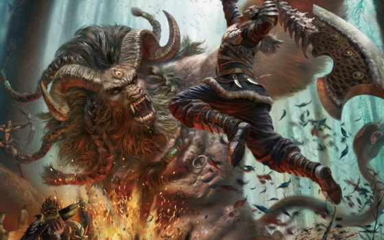 воин, art, битва, топор, дракон, monster, рога, fantasy, страница, дождь,