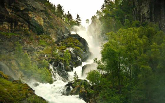 река, лес, горы, горная, туман, ручей, природа,