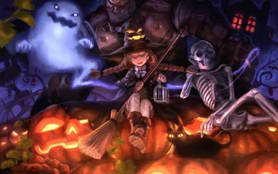 witch, halloween, art, девушка, кот, шляпа,