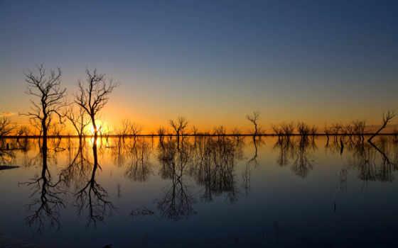 природа, небо, закат, красивые, заставки, весна, trees, дымка, солнечный, потоп,