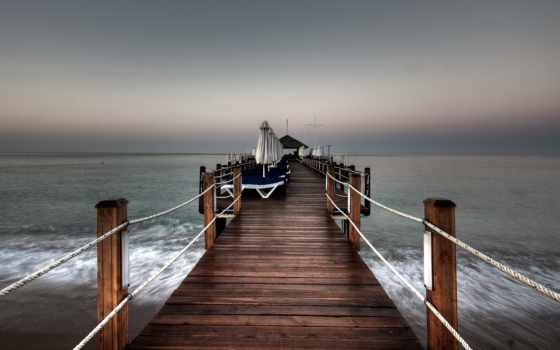 pier, море, природа, небо, landscape, water,