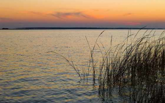 закат, природа, water, трава, угол, река, photos, wide, mobile, телефон, день