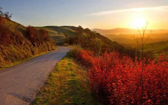 дорога, осень, оригинал, природа, добавить, ваше, choose, закат, hill