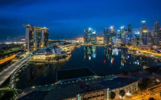 cityscape, огни, singapore, город, aerial, небоскрёба, ночь, architecture, огонь, travel