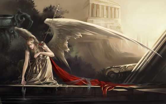 angel, рука, крылья, руку, water, протягивает, ангелы, раненый,