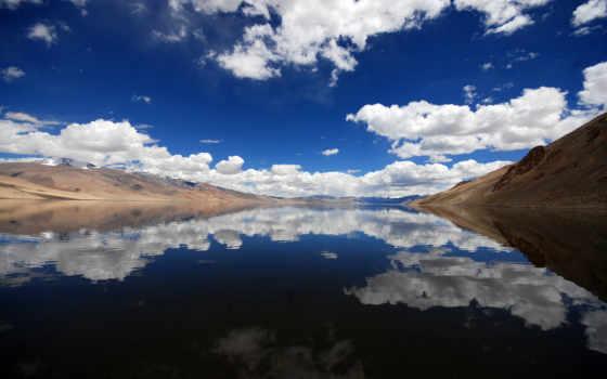 отражение, горы, небо