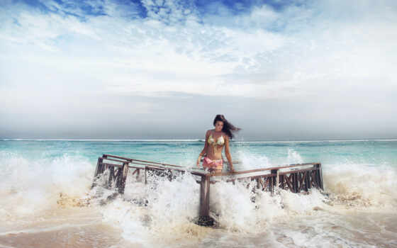 море, devushki, summer
