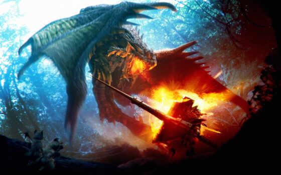 дракон, огонь, щит, лес, битва,