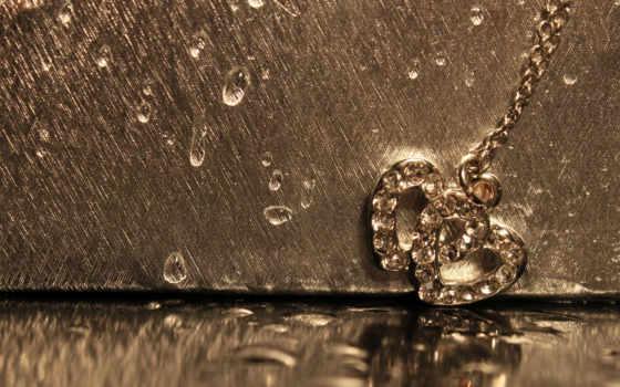 love, макро, сердце, сердечки, капли, кулон, цепь, gold, decoration, отражение,