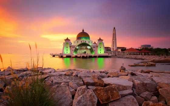 melaka, architecture, malaysia, selat, masjid, malaka, meczet, straits, wyspie, sztucznej,