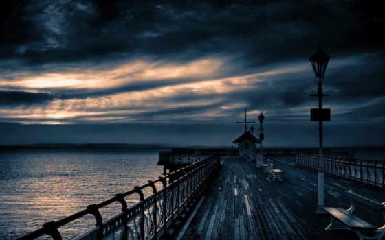 вечер, причал, пасмурный, облако