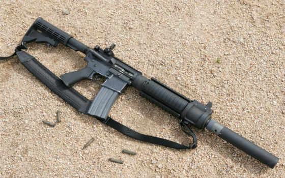 винтовка, глушителем, девушка
