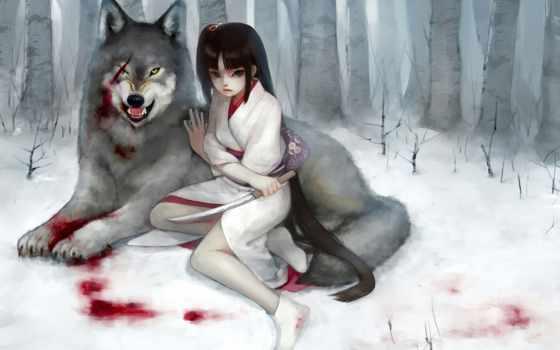 девушка, волк, кровь Фон № 59565 разрешение 1920x1200