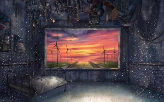комната, art, окно, кровать, taitsu, колготки, anime, взгляд, мельницы, железная, ветряные,