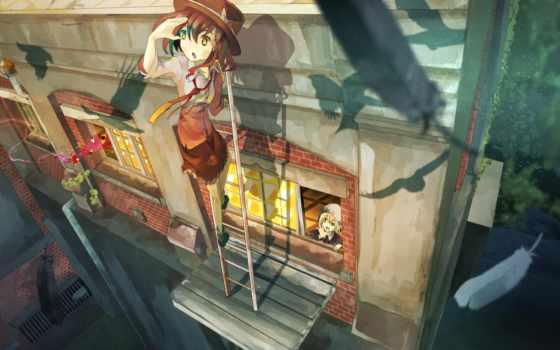 перья, fav, renko, usami, окна, anime, touhou, лестница,