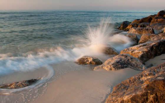 surf, камни, море, песок, брызги, природа,