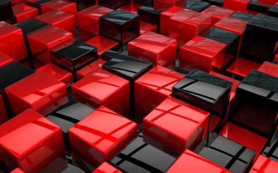 красные, графика, red, black, чёрно, кубы,