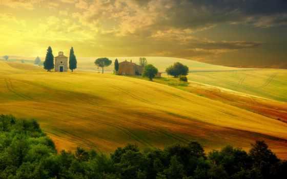 tuscany, italian, красивые, trees, природа, summer, italy, небо, landscape,