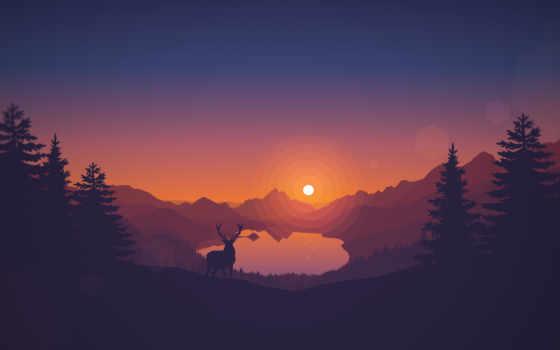 иконы, закат, лес