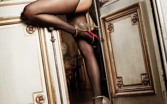 черные чулки, нога