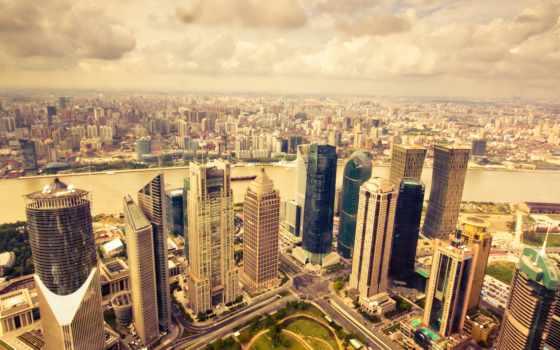 здания, город, взгляд, мегаполис, панорама, park, дороги, горизонт, небоскребы, сверху,