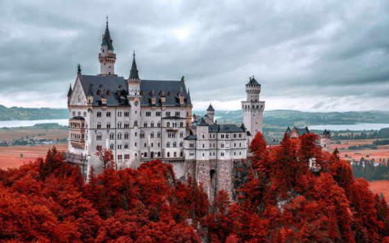 castle, нойшванштайн, германия, изображение, world, choose, ниже,