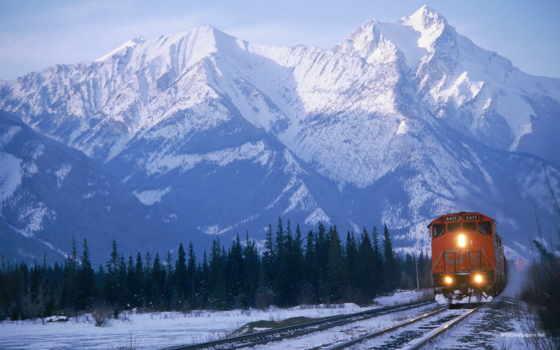 поезд, поезда, железная, дорога, горах, банка, коллекция,