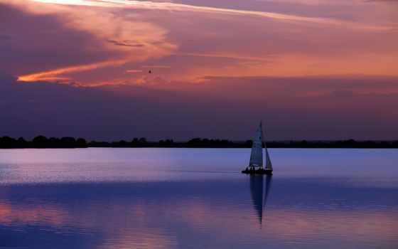 sailboat, корабли, voilier, soleil, одинокий, au, coucher, закат, www, eu,