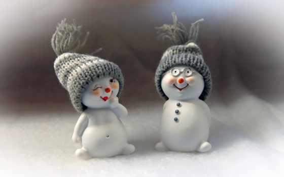 снеговики, winter, праздник, игрушки, new, год,