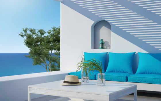 more, interer, диван, villa, векторный, дерево,