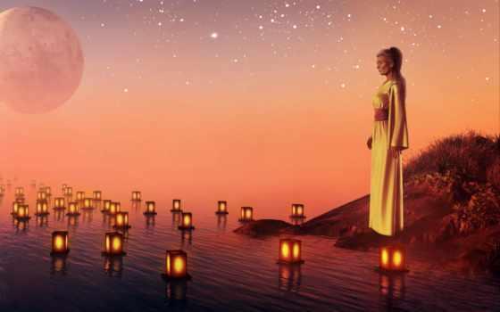 женщина, печаль, water, закат, planet, свечи,