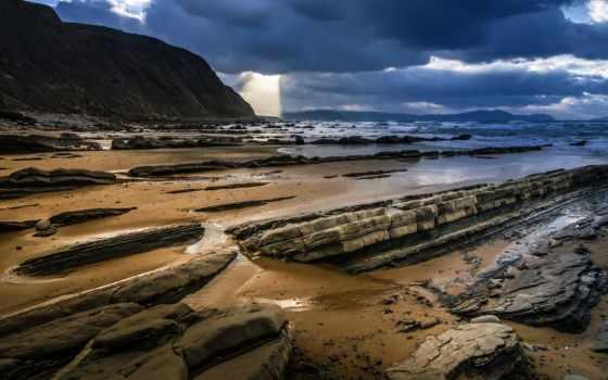 море, ocean, берег, небо, rock, песок, oblaka, пейзажами, категории, камни, фоны,