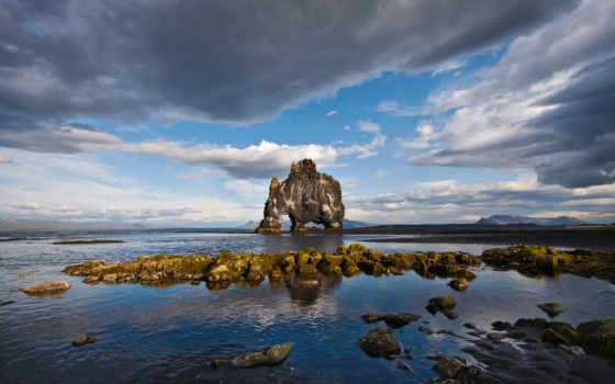 rock, hvitserkur, исландии, mammoth, that, хунафлоуи, находится, ли, камень, необычная,