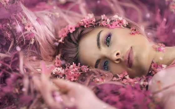 девушка, лежит, фотограф, cvety, alessandro, ди, цветах, cicco, венок, розовых,