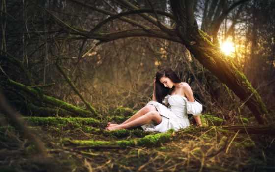 лесу, девушка, красивые, лес, календари, фотографий, marketa, novak, платье, devushki,